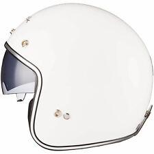 Black Classic Open Face Motorcycle Scooter Bike Helmet Inner Visor GHOSTBIKES White 57-58cm   M