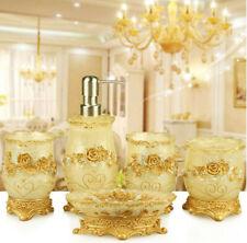 5pcs Resin Bathroom Royal Accessories Set Soap Dish Dispenser Toothbrush Holder