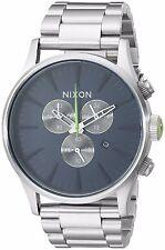 Nixon Mens The Sentry Chrono Midnight Blue / Volt Green Dial SS Bracelet Watch