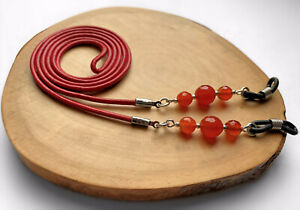 Red Leather Carnelian Gemstone Spectacle Glasses Cord Thong Lanyard Holder Chain