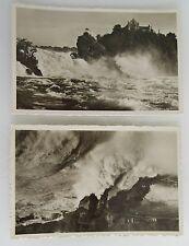 """2 x Rheinfall 1935 mit rotem Stempel """"Schlösschen Wörth"""" Wasserfall Waterfalls"""