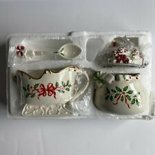Lenox Christmas Holiday Santa Collection Sugar Bowl, Spoon, and Creamer Sleigh