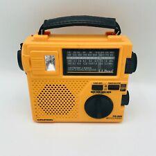 Grundig AM/FM SWI2 World Receiver LL Bean Orange Hand Crank Radio w/ Light & Box