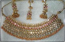 Indian Joyería Set/Diamante/Rosa Collar Plus Tikka Boda Fiesta