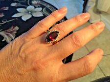 LARGE GARNET MARQUIS AND DIAMOND RING 10K GOLD SALE!