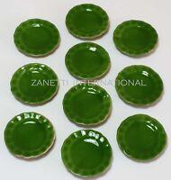 Set of 10 Dollhouse Miniature Green Ceramic Plates *Doll Mini Food 1-inch Dishes
