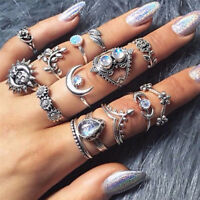 14Pcs Women Boho Vintage Silver Moon Sun Leaf Flower Knuckle White Opal Ring Set