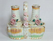 Salt & Pepper Shaker Basket Pink & Gold FLowers / Vintage Japan 1950's Ceramic