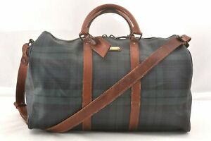 Authentic POLO Ralph Lauren Vintage Green Check Leather Travel Boston Bag 98191