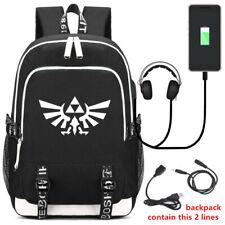 The Legend of Zelda Backpack Students Schoolbag USB Travel Bag Laptop Knapsack