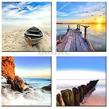 4 Panels Canvas Print Picture Beach Sunset Sea Seascape Wall Art Decor No Framed