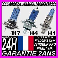 AMPOULE LAMPE HALOGENE FEU XENON SUPERWHITE PLASMA H1 H7 H4 55W 100W 6000K 12V