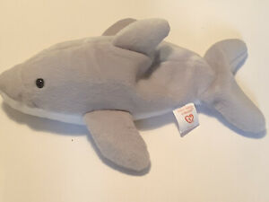 Ty Beanie Babies Collection Flash The Dolphin Plush Soft Toy 21cm Long 1993