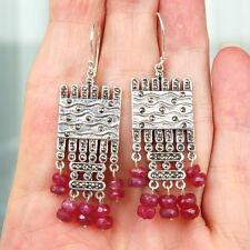 E842 Boucles d'oreilles  Style Art Déco Argent Massif 925 Rubis Marcassites