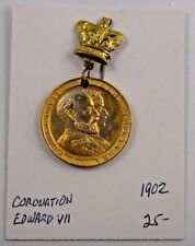 1902 Coronation Edward VII Queen Alexandra Pin Pinback Medal Badge