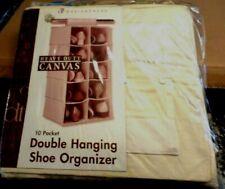 "New! Heavy Duty Canvas Double Hanging 10 Pocket 26"" Storage Organizer $39.99 !"