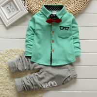 Kleinkind Kinder Jungen Outfit Kleidung Infant Krawatte Solid Simple Shirt+Hose