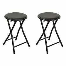 Round Folding Padded Stool. Office Kitchen Breakfast Stool -Metal Frame Black x2