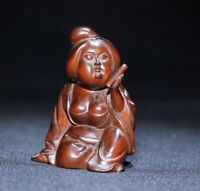 Collect noble Japanese boxwood carved women beauty girl statue Netsuke figurines