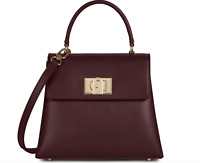"Furla ""1927"" Top Handle Convertible Bag in Italian Leather Burgundy Color RFID"