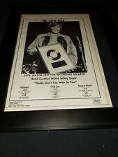 Wayne Newton Daddy Don't You Walk So Fast Rare Original Promo Poster Ad Framed!