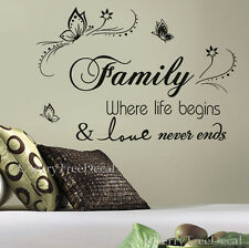 Family Wall Quotes Decal Stickers Vines Home DIY Art Decor 16X FREE BUTTERFLIES