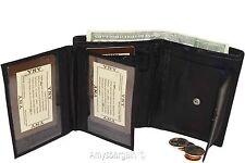 Men's wallet. Leather Bifold wallet 2 Flip side pieces 8 card 3 ID Zip coin case