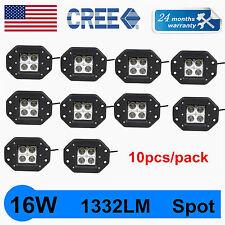 10X 16W CREE LED Pod Lights Flush Mount Driving Work Fog Light Cube Truck 1332LM