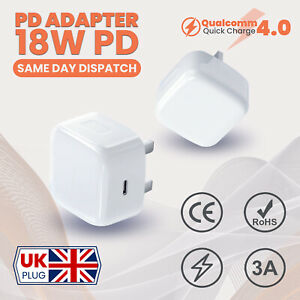 UK Plug PD 18W USB-C Type C Fast Wall Charger Adapter For iPhone 11 12 Pro MINI