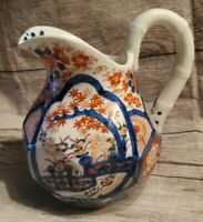 """Antique Japanese Imari 6"""" Faceted Pitcher w/ Bamboo Handle Unusual"""