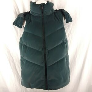 Athleta Women's Small Quilted Green Velvet Goose Down Puffer Vest With Hood