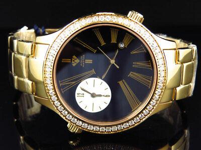 Mens Aqua Master Jojino Joe Rodeo Gold Swiss 45 MM Diamond Watch W#141 2.45 Ct