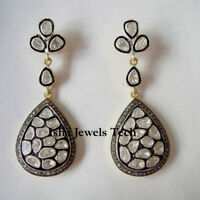 Natural Pave Diamond Polki Earrings Gold & 925 Sterling Silver Victorian Jewelry