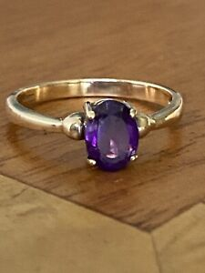 Ladies Vintage  9ct Gold &  Amethyst Ring  ~ Size N ~ Gorgeous!!