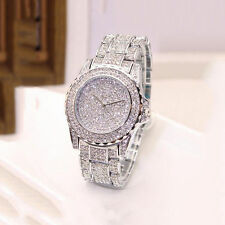 ICED OUT WOMENS SILVER BLING WATCH FAUX DIAMOND CRYSTALS Ladies Dress Gold 102