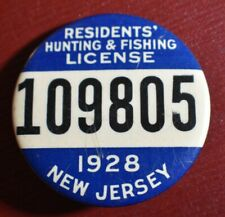 1928 New Jersey Resident Hunting & Fishing Pinback