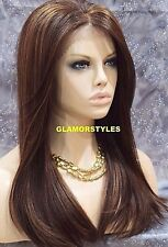 Straight Brown Mix Human Hair Blend Full Lace Front Wig Heat Ok Hair Piece NWT