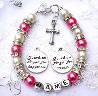 New baby child girl personalised christening holy communion bracelet cross /& Bag