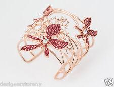 ROCO by Rodrigo Otazu Pink Metal w/ red & clear stones Bracelet Cuff