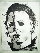 Canvas Painting Halloween Michael Myers Portrait B&W Art 16x12 inch Acrylic