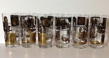 Vintage Mod Modern Barware Set Of 6 Highball Tumblers Glasses Currency Coins