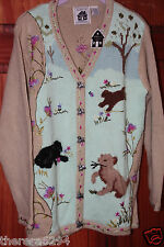 STORYBOOK KNIT SWEATER SIZE LARGE DEER IN THE MEADOW-NEW WITH TAGS