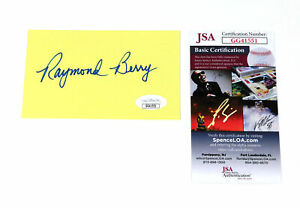 Raymond Berry Signed 3 x 5 Yellow Index Card Colts JSA Auto