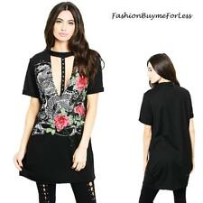 Rockstar Goth Sexy Neckline Embroidery Rose Graphic Dress Tunic Tee Top S M L XL