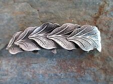 Leaves Silver Plated French Clip Hair Barrette 80MM Clip Made in USA 6035S New