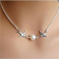 Birds Swallow Pearl Pendant Necklace Choker Short Silver Chain Fashion Jewelry