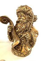 """16.5"""" Santa Bust Christmas List Antique Style Faux Gold Leaf Sculpture"""