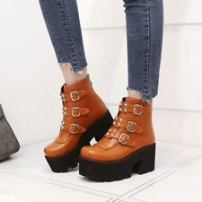 Womens Leather Buckle Strap Rivets Round Toe High Creepers Military Ankle Boots
