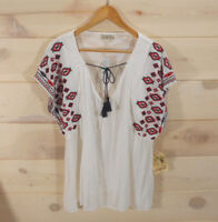 One World Women's Sz L Tunic Top Tassels Wide Sleeve Embroidered Ivory Red Blue