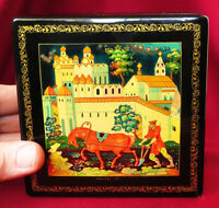 R! Soviet MSTERA AGITLAK Lacquer Box RED PLOWMAN 1980 Olympic Games Russian USSR